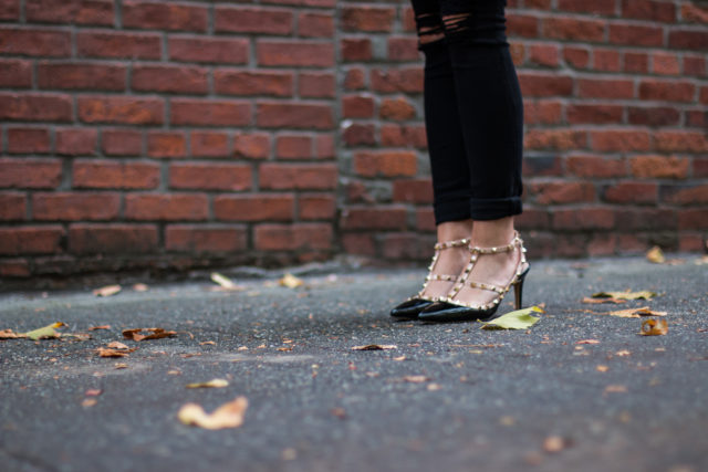 Black patent stud heels