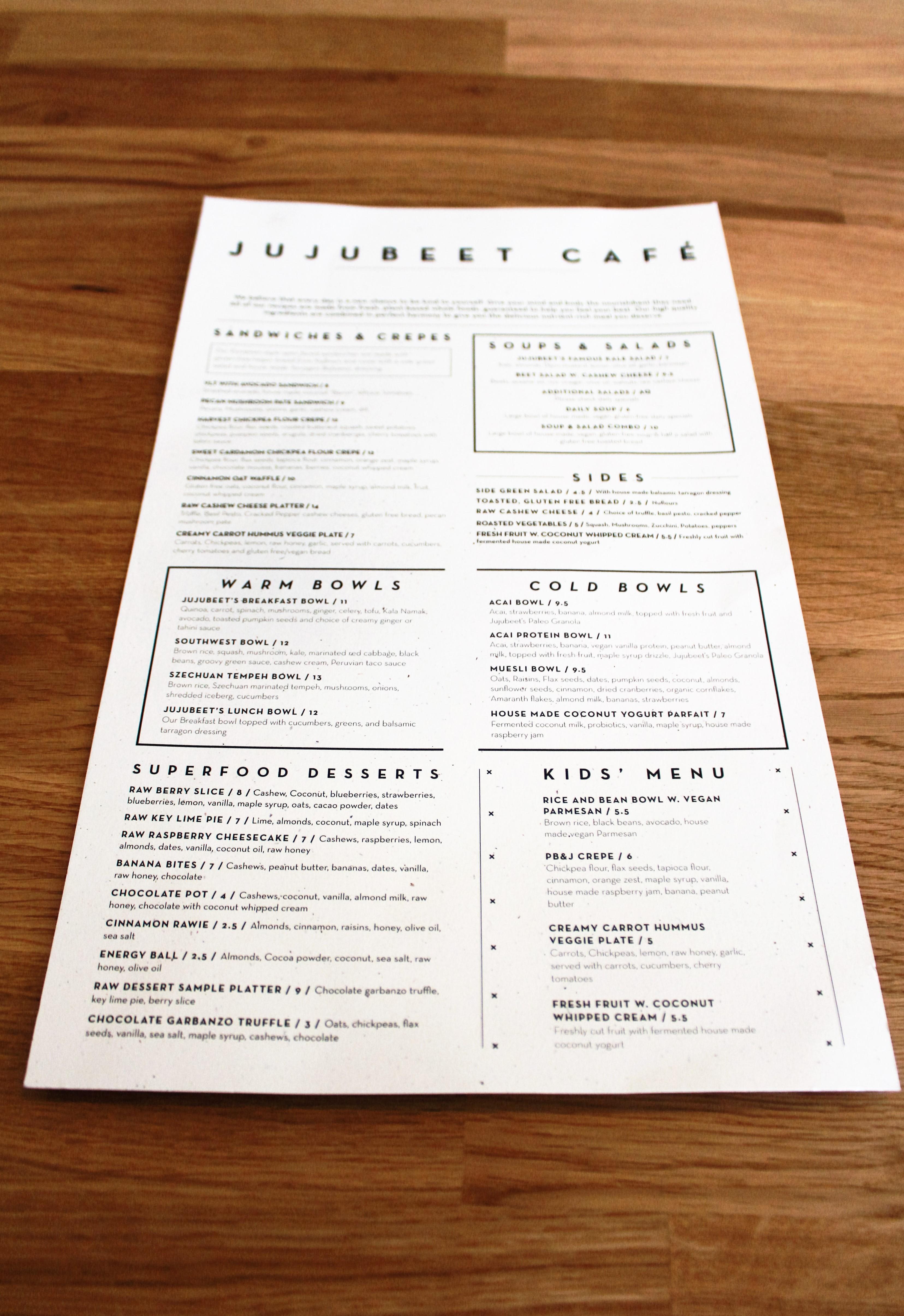 Jujubeet menu