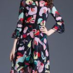 Floral dress with bell sleeves and ruffles