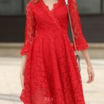 red dress with bell sleeves
