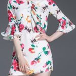 florALMINI DRESS WITH BELL SLEEVES
