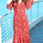 red midi dress with flutter sleeves